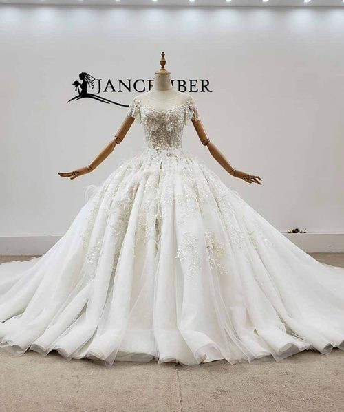White Feather Appliques Crystal Wedding Dress 2020