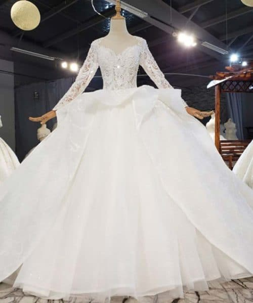 Beading Sleeves Covered With Delicate Wedding Dress 2020