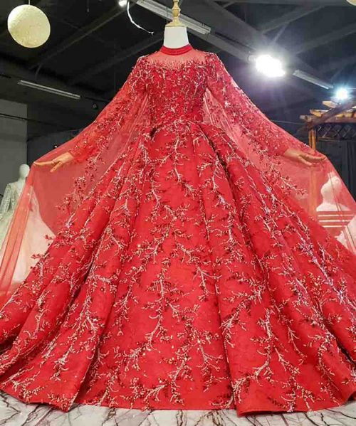 Red Beaded Flower Crystals Sequined Evening Dress 2020