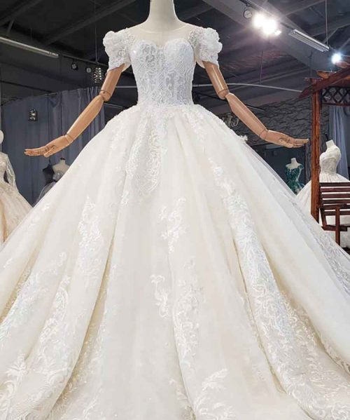 Lace Applique Crystal Sequined Wedding Dress