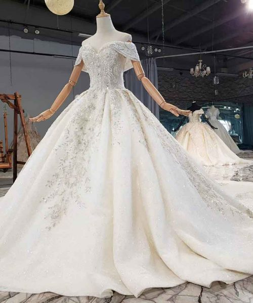 Pearls Applique Crystal Sequined Wedding Dress 2020