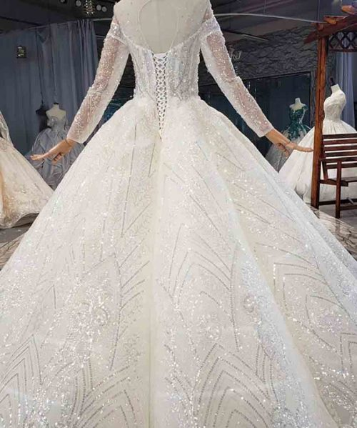 Luxurious Crystal Sequined Wedding Dress 2020