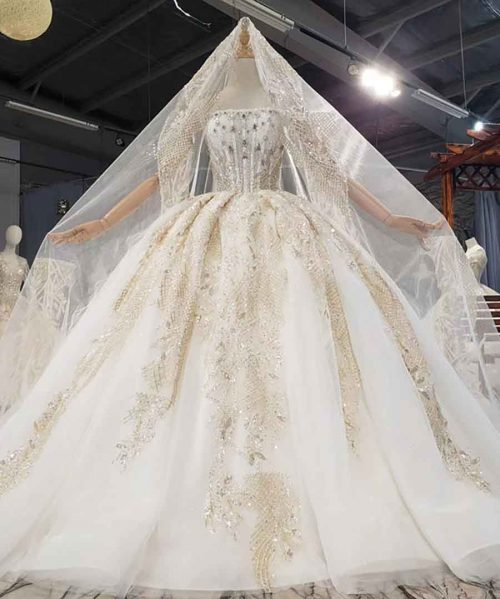 Crystals And Beautiful Sequins Pearls Wedding Dress 2020