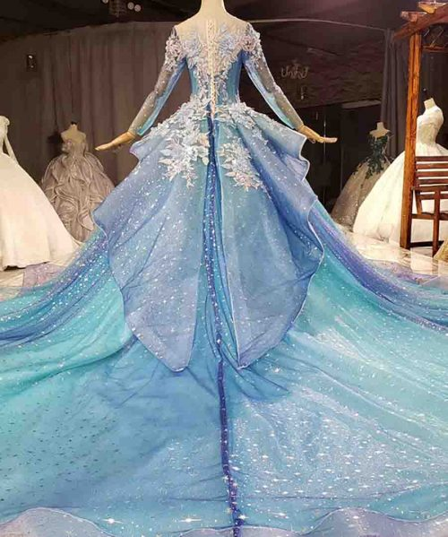 Blue And Purple Tassel Appliques Crystal Evening Dress 2020