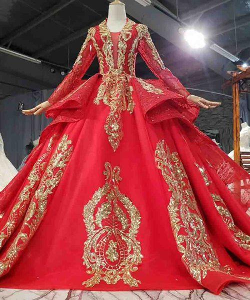 Sequined Applique Red Custom Dress 2020