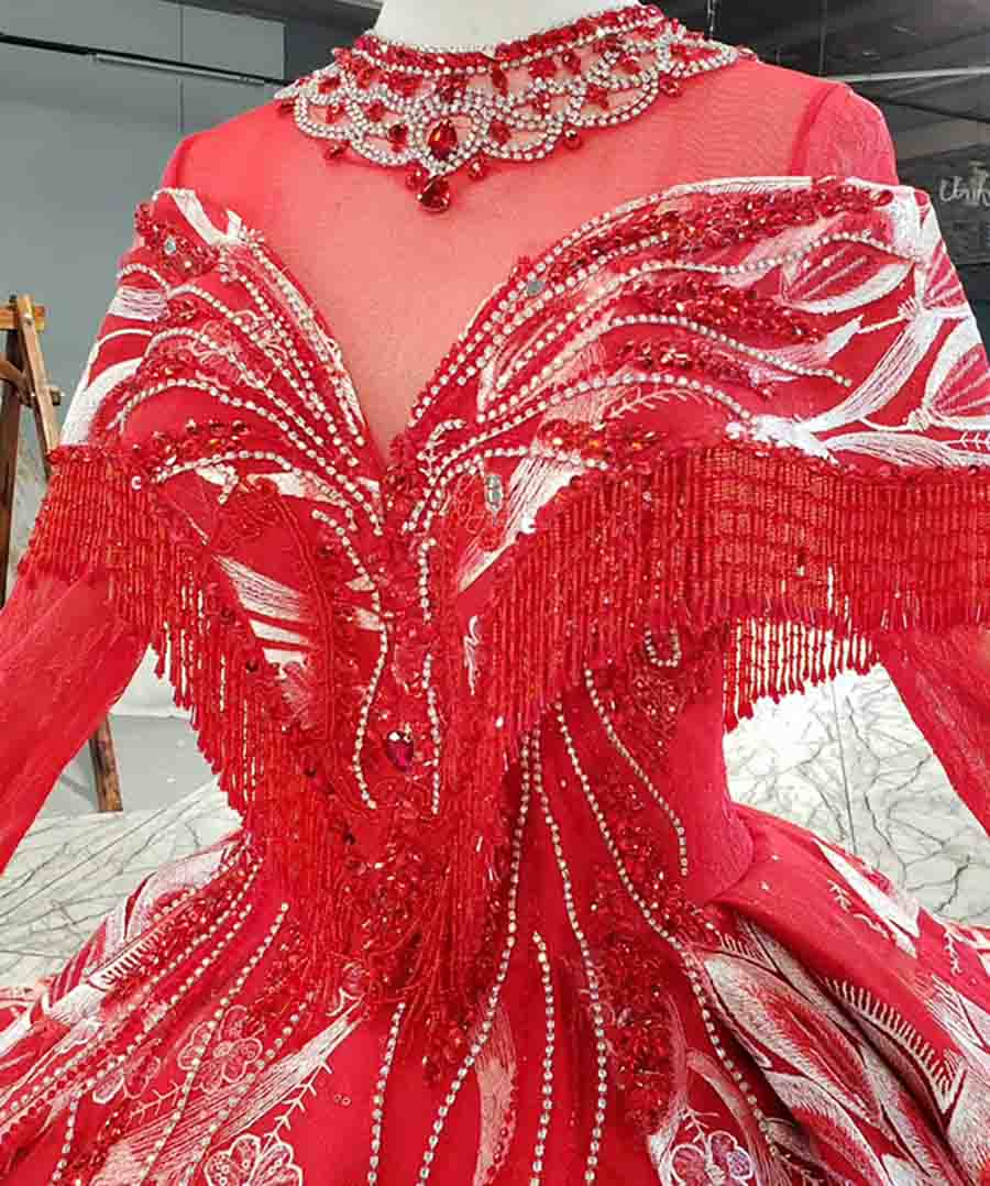 Long Sleeve Crystal Red And White Custom Dress 2020