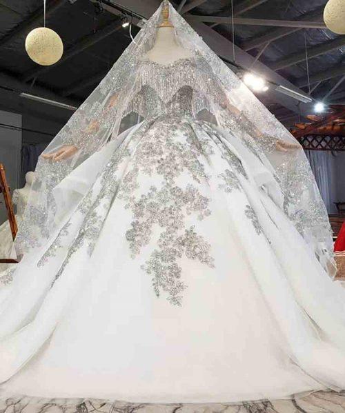 V-Neck Chest Prefix Full Of Beaded Tassels Wedding Dress 2020