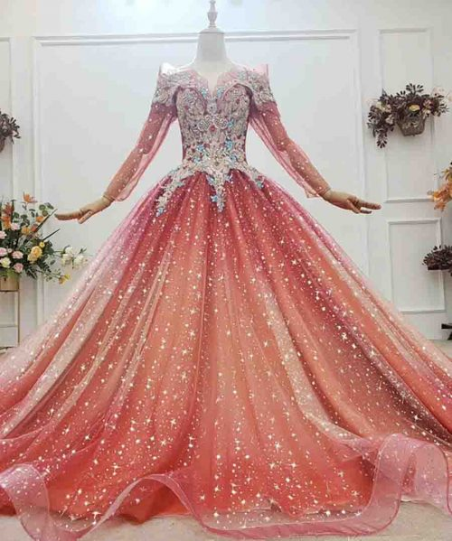 Colorful Gems Appliques Crystal Evening Dress 2020