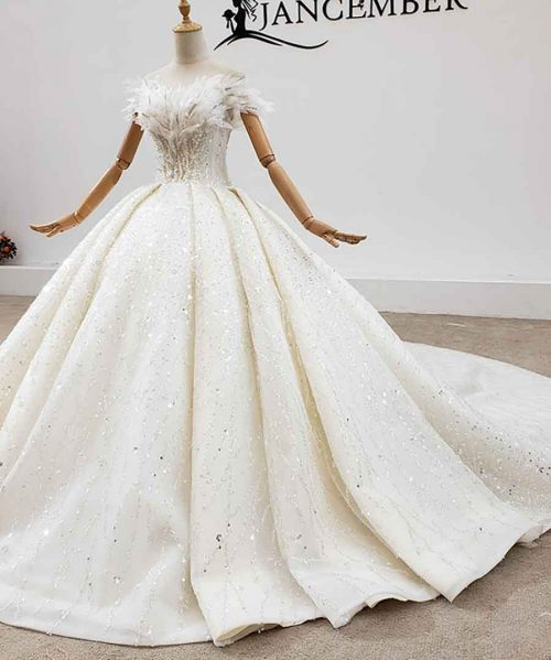 O-Neck With Short Sleeve Appliques Wedding Dress 2020 HTL1759
