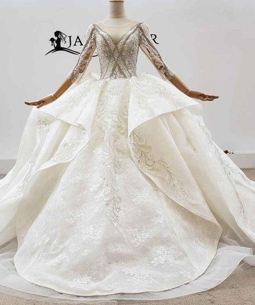 V-Neck With 3/4 Sleeve Appliques Wedding Dress 2020 HTL1760