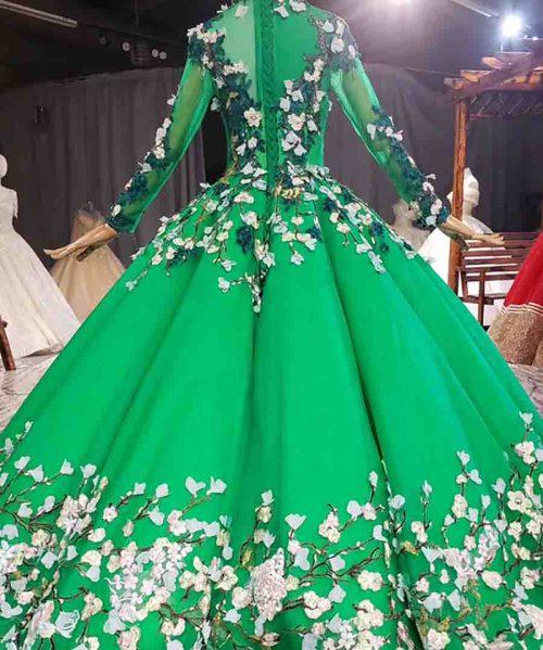 Beautiful Fresh Green Appliques Crystal Evening Dress 2020 HTL1761
