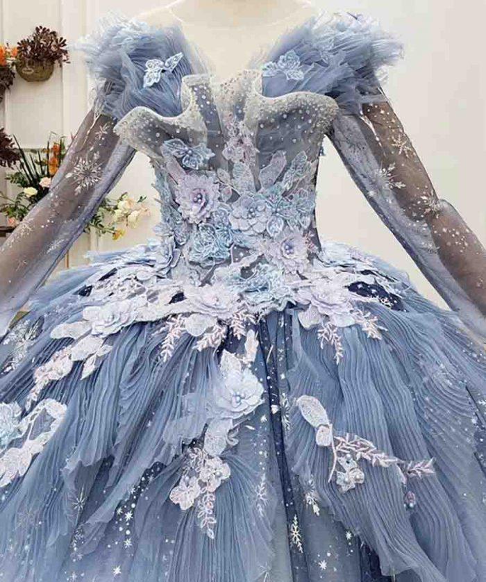 Beautiful Gradient Starry Blue Appliques Crystal Evening Dress 2020 HTL1762