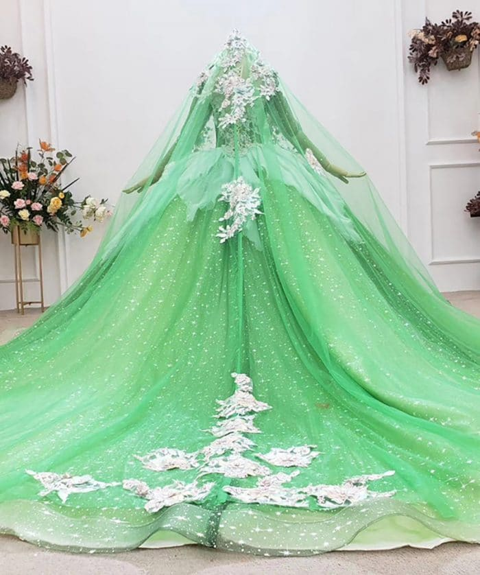 Fresh And Elegant Grass Green Appliques Crystal Evening Dress 2020 HTL1764