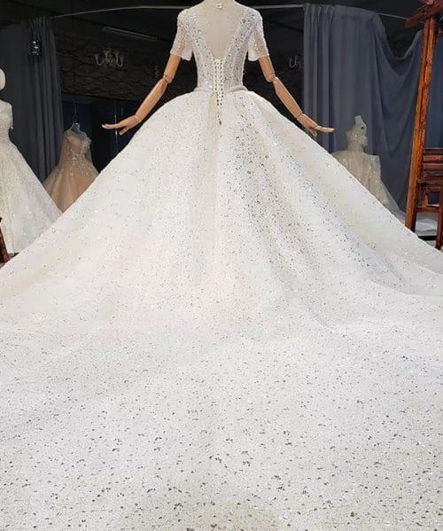 Sequin Pearls Custom Wedding Dress 2020 HTL1766