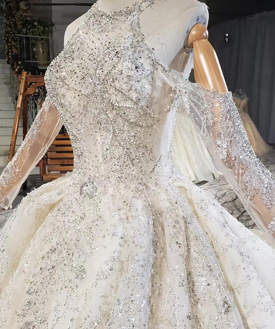 Ivory White Ball-Gown Beaded Luxury Halter Wedding Dress 2020 HTL1770