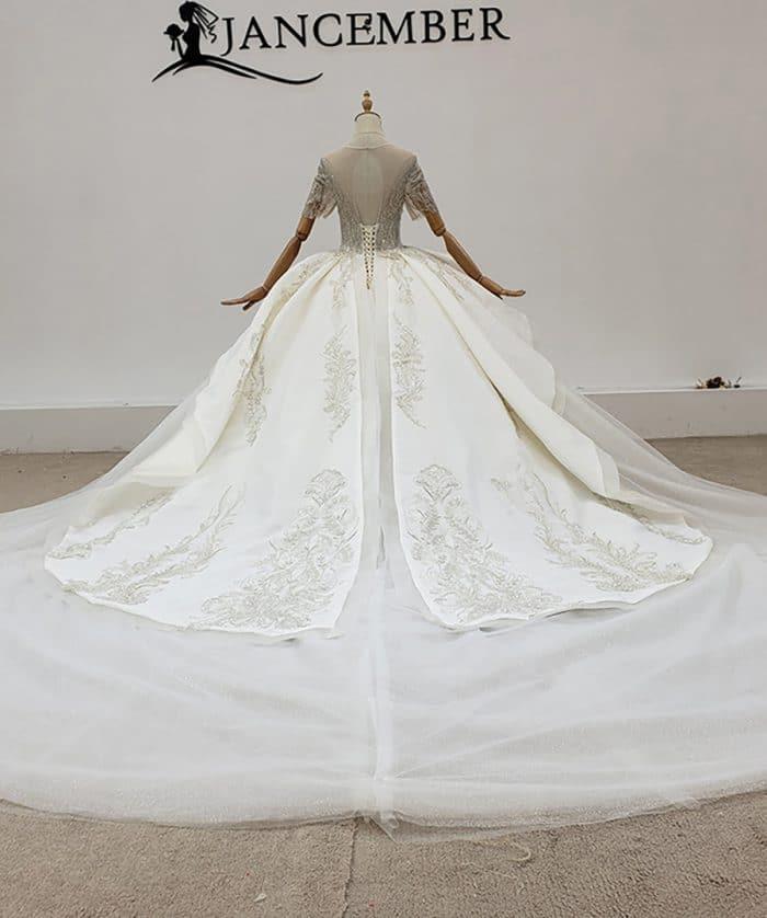 Ball-Gown Beaded Luxury O-Neck Wedding Dress 2020 HTL1771